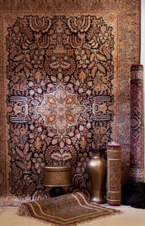 Luxury and beautiful carpets display photo