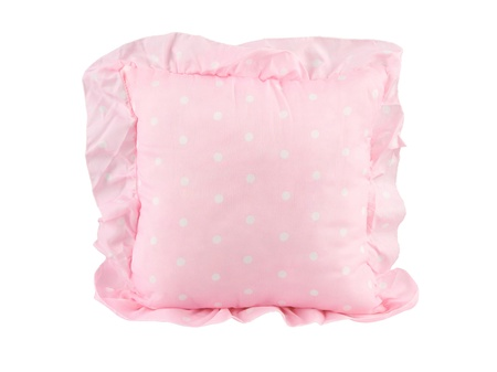 overlapped: A cute pink cushion for home decoration Stock Photo