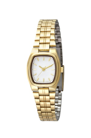 Luxury golden woman wristwatch on white background photo