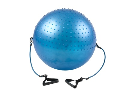 Blue gym ball with elastic handle for your exercise Stock Photo - 16742079