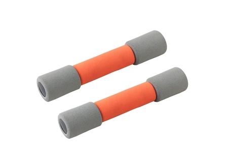 Two of orange dumbbells on white background Stock Photo - 16742082