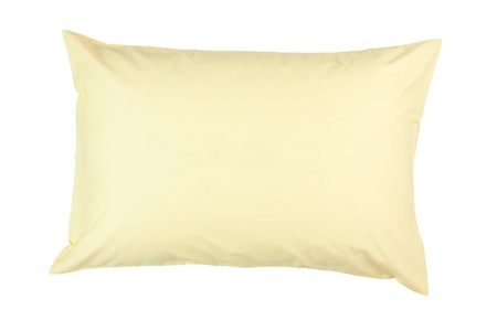 pillow case: pillow with yellow pillow case on white background