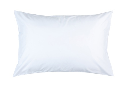 mite: pillow with white pillow case on white background Stock Photo