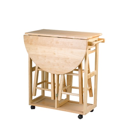 folding chair: Folding and movable wooden table with stools for little kitchen area