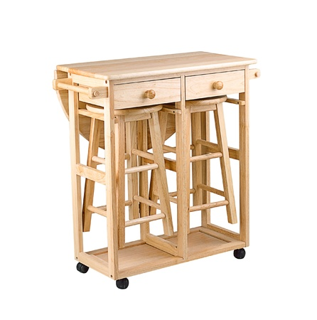 folding chair: Folding and movable wooden table with drawers for little kitchen area Stock Photo