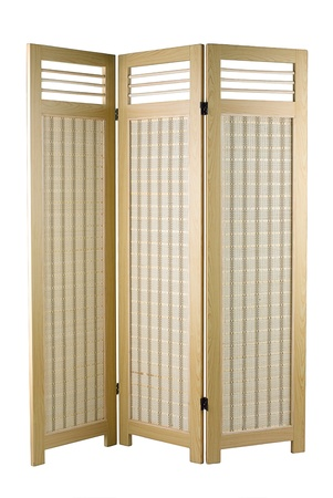 partition: A fabric partition with a wooden frame for home decoration