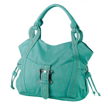 Beautiful green leather handbag Stock Photo