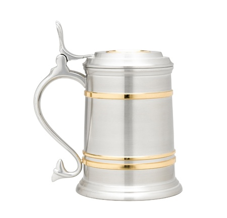 pewter mug: A luxury pewter beer mug decorated by golden