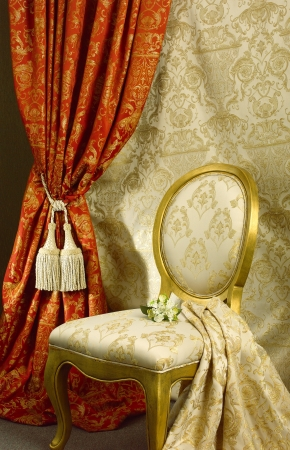 Luxury chair with beautiful curtain background photo