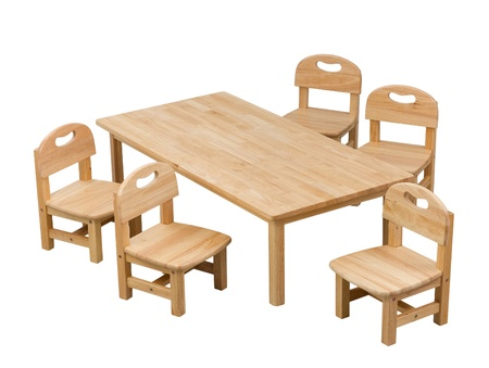 A set of small desk and chairs for kid photo