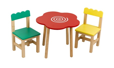 illiteracy: A cute set of desk and chairs for child Stock Photo