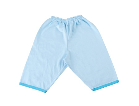 kids wear: Blue baby pant on white background Stock Photo