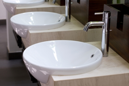 Three of wash basin in the rest room Stock Photo - 16894259