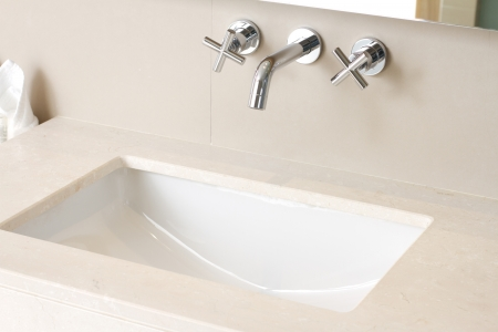 bathroom sink: Hand wash basin with faucet