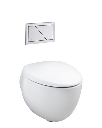 Modern designed of ceramic toilet bowl and economic flush press with two separate buttons Stock Photo - 16894302
