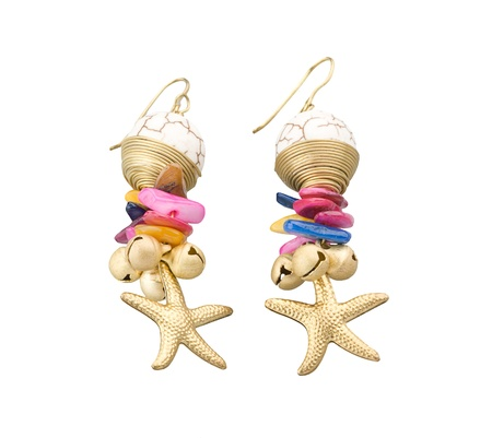 bead jewelry: colorful earring decorated by brass and gemstone