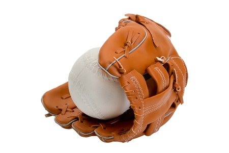 A new leather baseball glove and white ball photo