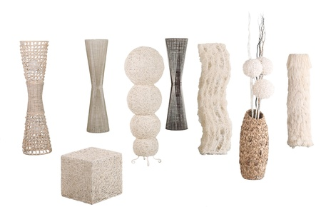 Modern design of rattan, bamboo and water hyacinth floor lamps photo