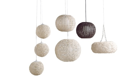 Beautiful modern design of rattan ceiling lamps Stock Photo
