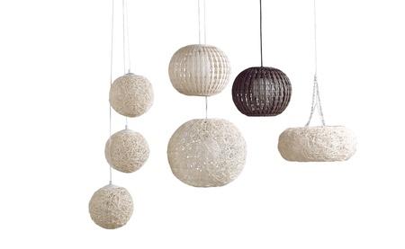 Beautiful modern design of rattan ceiling lamps Archivio Fotografico