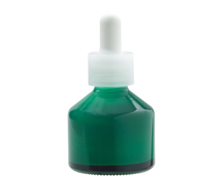 A small green glass bottle of cosmetic with blank label Stock Photo - 16894260