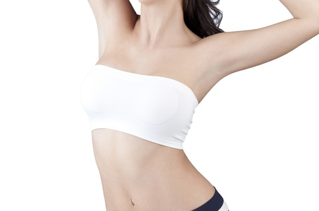 woman showing her clean armpits