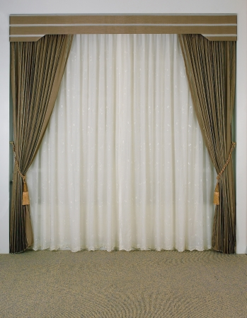 in need of space: The curtain with blank space need your decoration stuffs to putting in