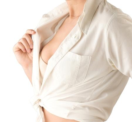beaux seins: Prenez soin de vos seins toujours vérifié le cancer Banque d'images