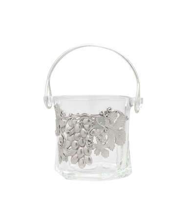 pewter: A beautiful glass ice bucket decorated by pewter in grape shape Stock Photo