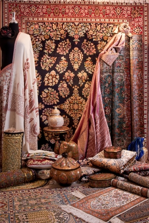 rug texture: Display of carpets and beautiful fabrics   Stock Photo