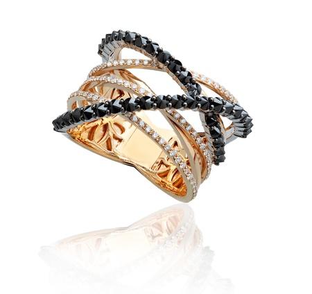 Beautiful diamonds ring decorated by black jasper Stock Photo - 16930765
