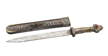 Ancient knife and engraving scabbard neat and beautiful fine handicraft Stock Photo - 16930746