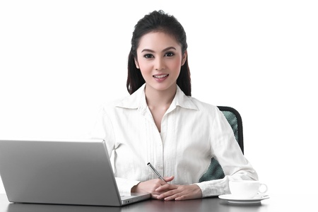 A working woman working with smiling face photo