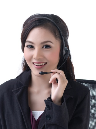 A pretty woman calls with headset photo