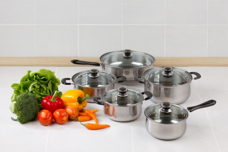 Set of stainless pots and pan with glass lids photo