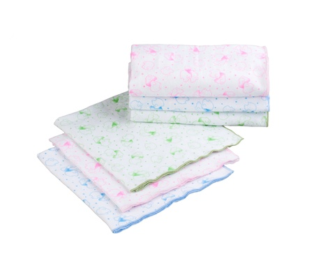 swaddling:  Stack of swaddling bands for new born baby