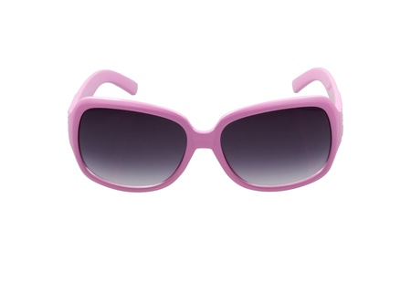 sunglasses isolated:  Gray sunglasses with violet frame on white background Stock Photo