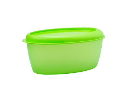 A green plastic box for food storage Stock Photo - 16988434
