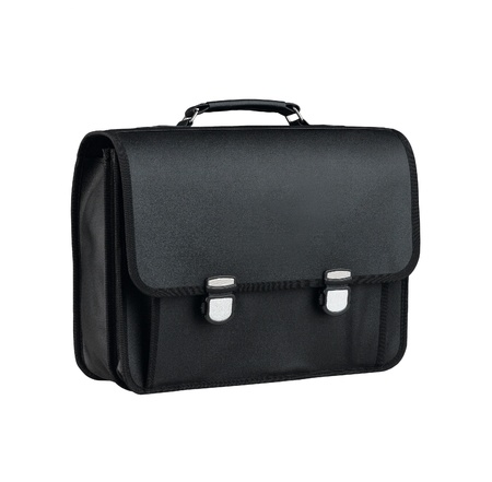 Black leather school bag for student photo