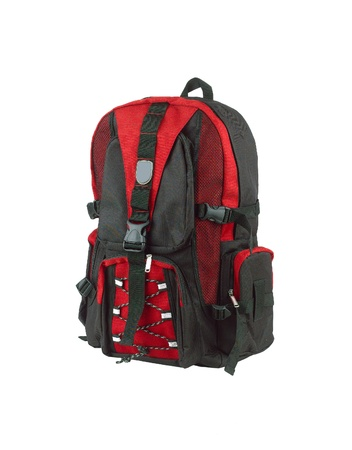 Red canvas backpack for adventure photo