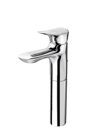 Beautiful modern designed of chrome faucet for hot and cold water photo