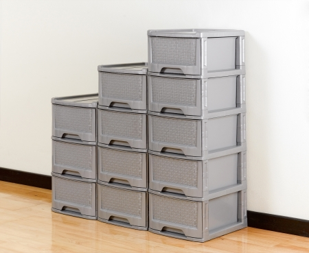 storage box: Stacks of plastic drawers for home or office using Stock Photo
