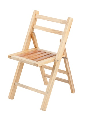 folding chair:  Small folding wooden chair on white background