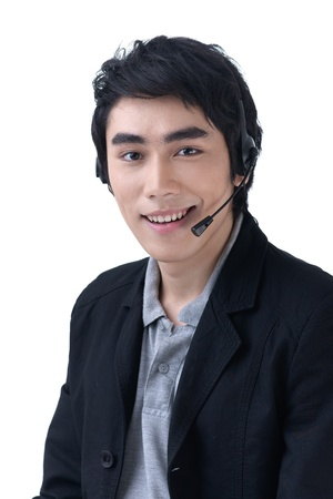 Business man with headset at call center office photo