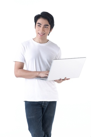 Young asian man holding laptop computer and work photo