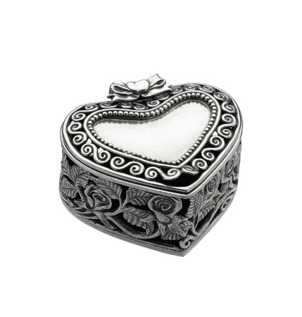 pewter: Heart shape pewter jewelry box