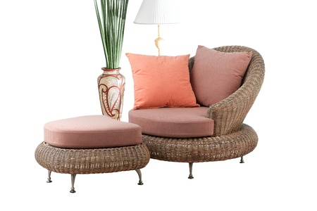 rattan: A modern design of rattan sofa and stool with beautiful cushion