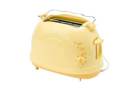 toaster: A cute yellow bread toaster, the kitchenware you need for breakfast