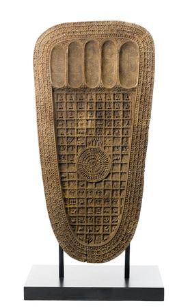 buddha image:  The wooden sculpture of the buddhas footprint and story about reborn inside that prints