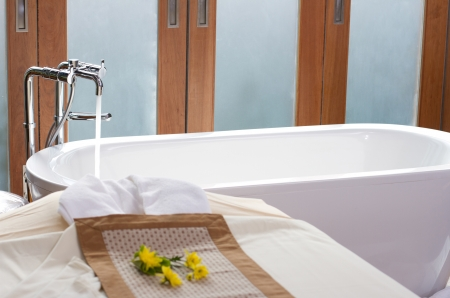 Luxury bath tub and faucet in spa room Stock Photo - 17092382